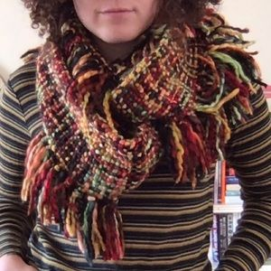 Woven autumn colored infinity circle scarf